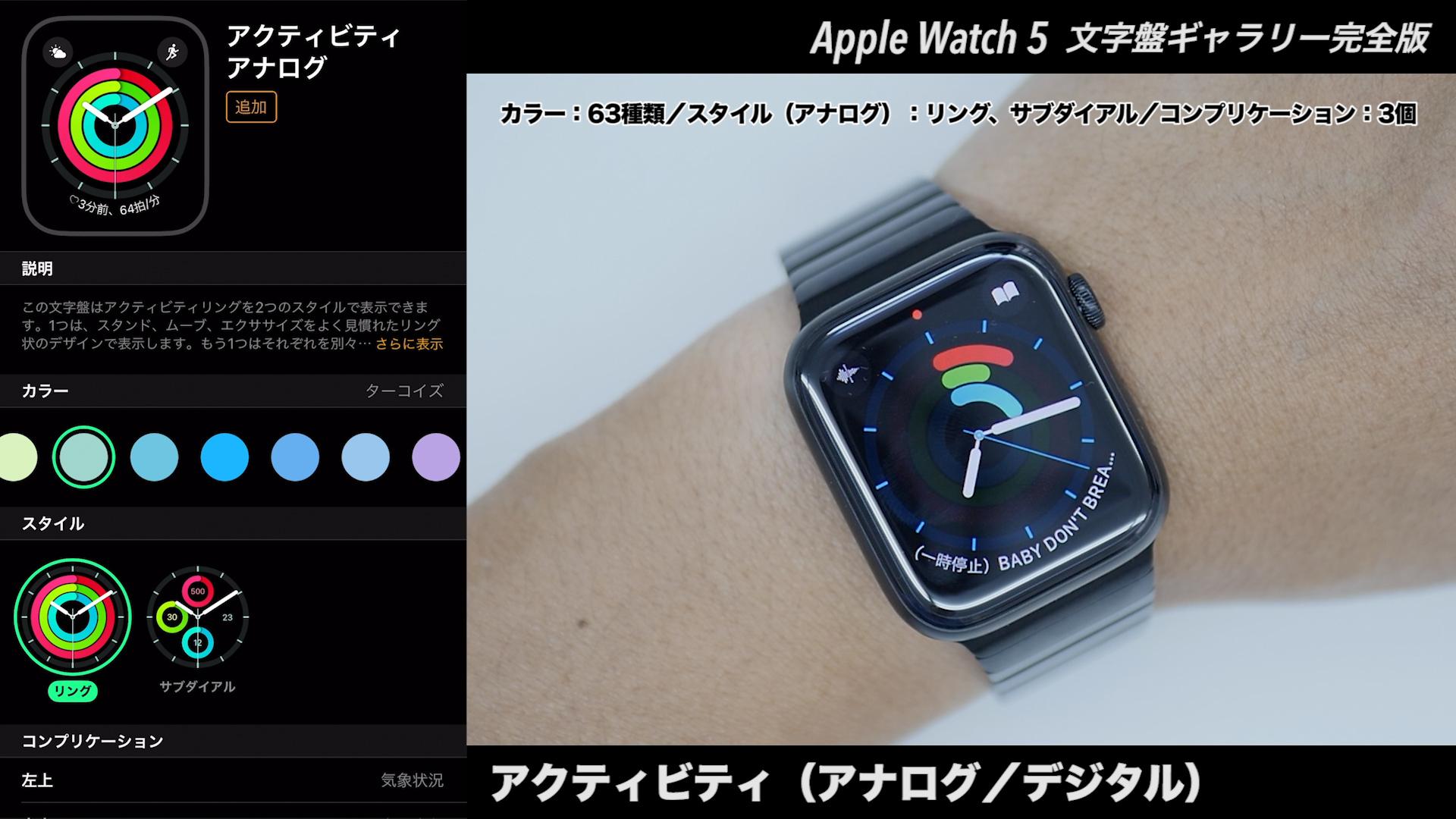 Apple Watchの文字盤 アクティビティ(アナログ+デジタル)