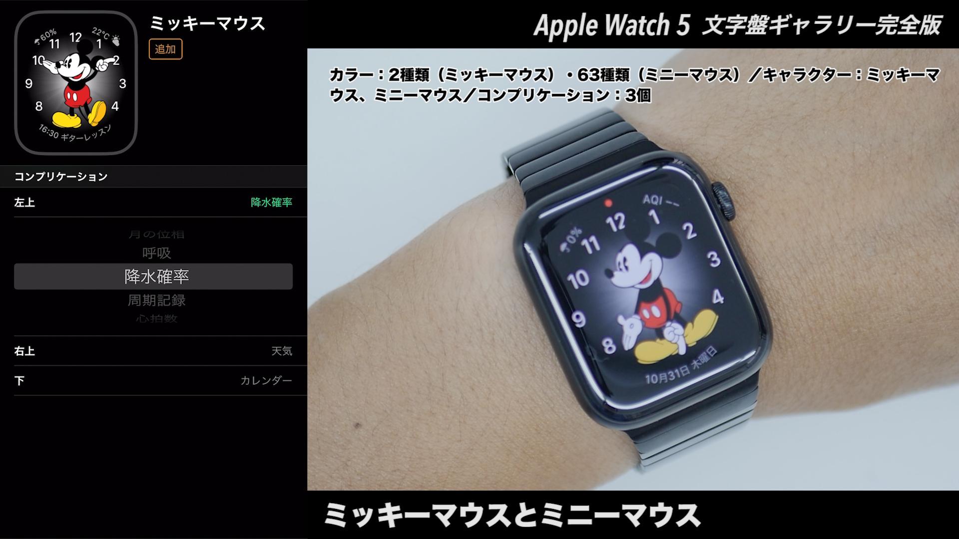 Apple Watchの文字盤 ミッキーマウスとミニーマウス